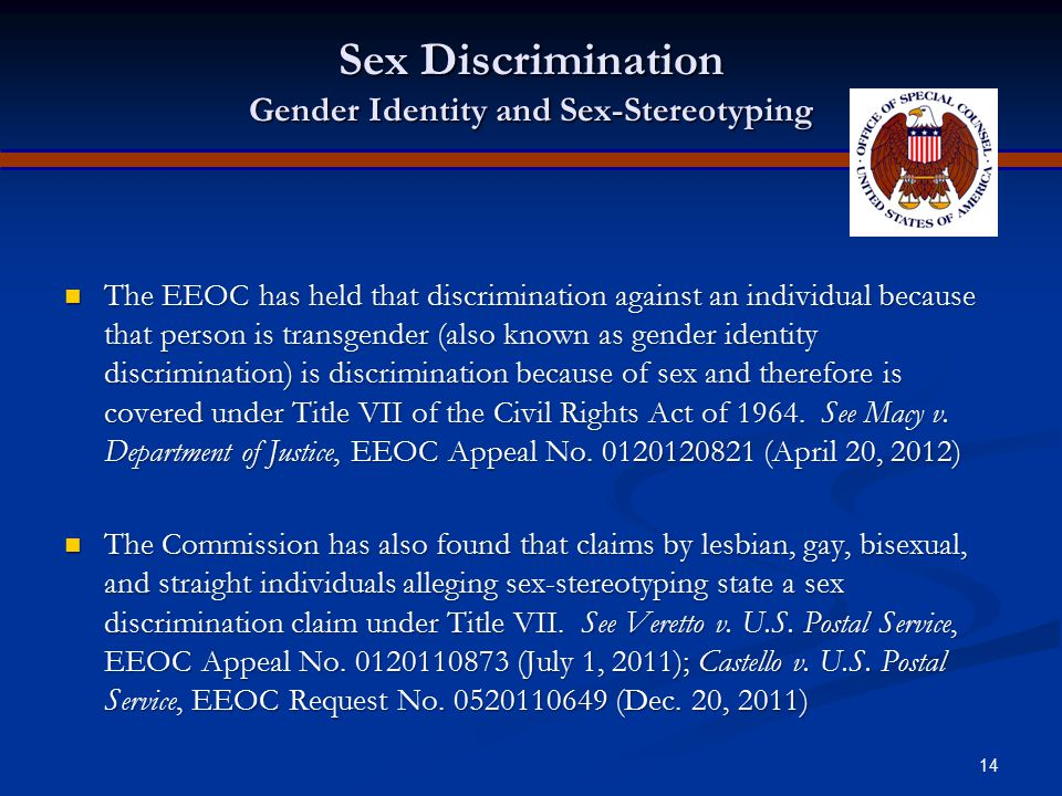 Sex Discrimination Gender Identity and Sex-Stereotyping