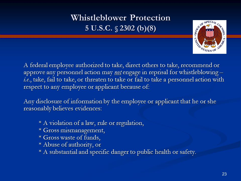 Whistleblower Protection 5 U.S.C. § 2302 (b)(8)