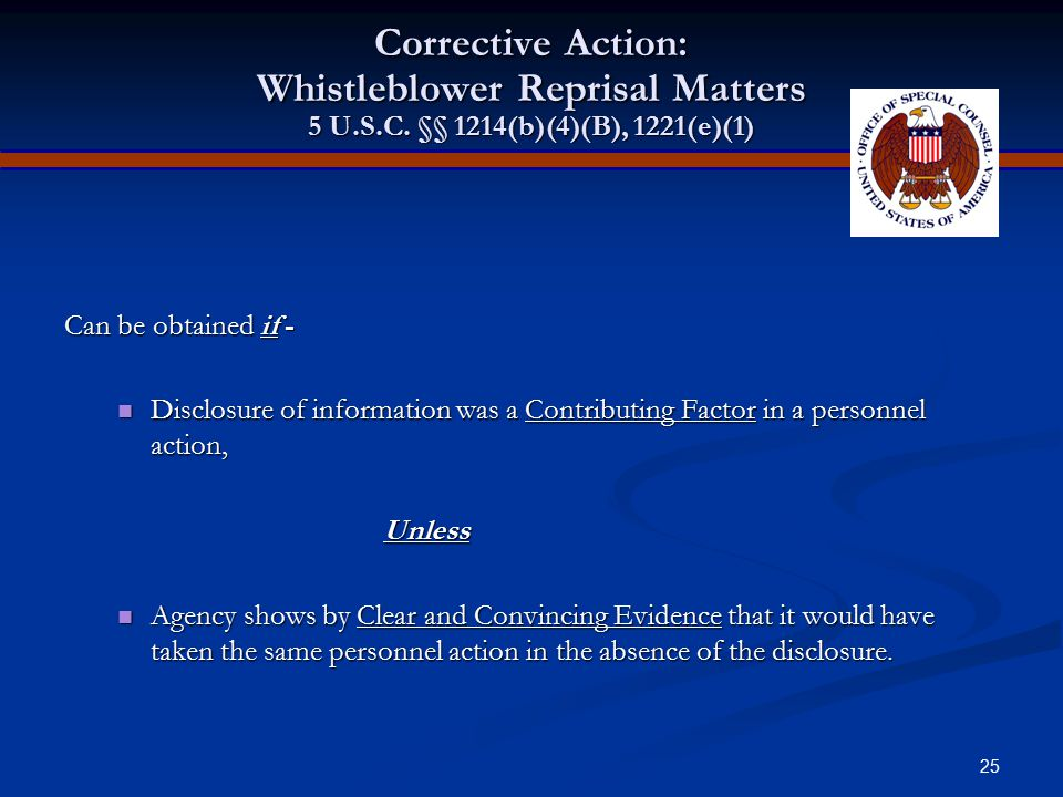 Corrective Action: Whistleblower Reprisal Matters 5 U. S. C