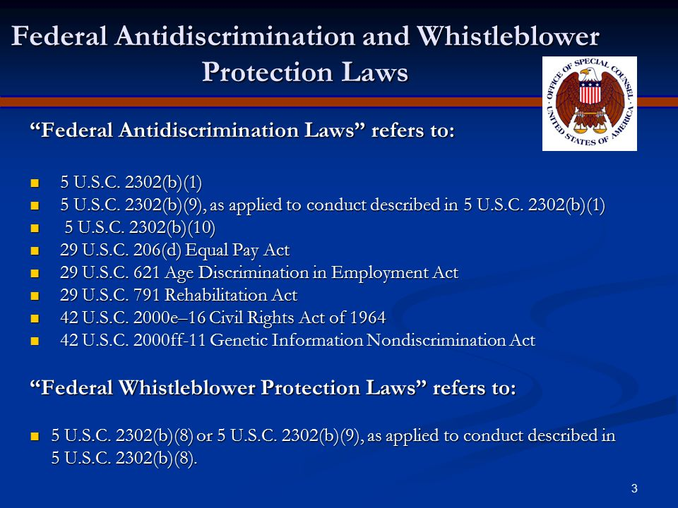 Federal Antidiscrimination and Whistleblower Protection Laws