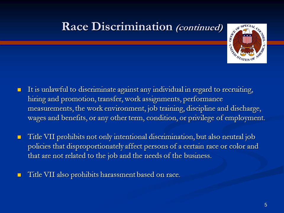 Race Discrimination (continued)