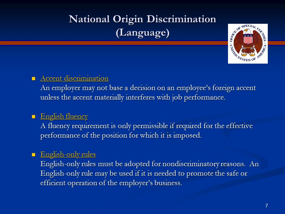 National Origin Discrimination (Language)
