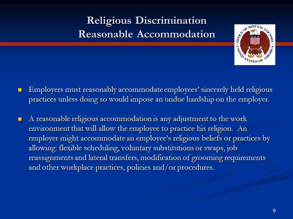 Religious Discrimination Reasonable Accommodation