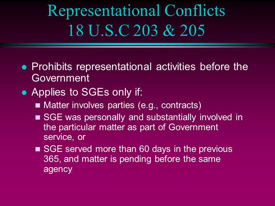 Representational Conflicts 18 U.S.C 203 & 205