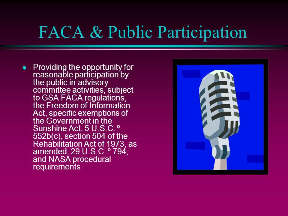 FACA & Public Participation