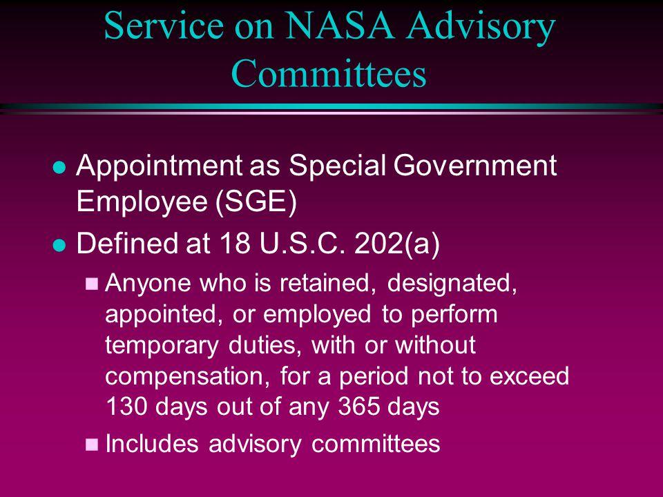 Service on NASA Advisory Committees