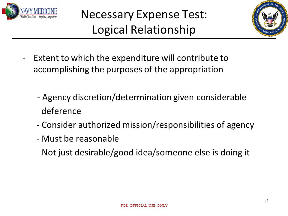 Necessary Expense Test: Logical Relationship