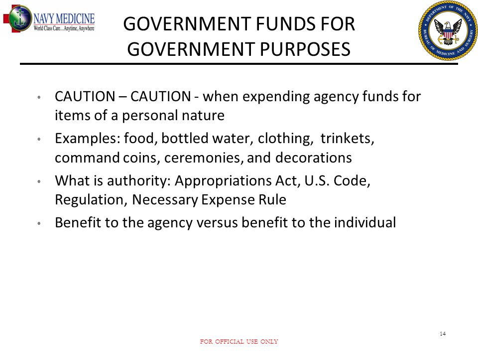 GOVERNMENT FUNDS FOR GOVERNMENT PURPOSES