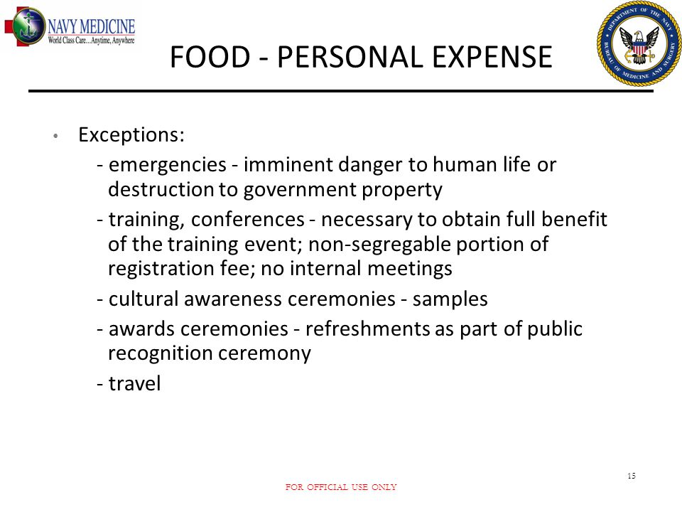 FOOD - PERSONAL EXPENSE