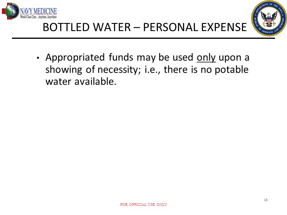 BOTTLED WATER – PERSONAL EXPENSE