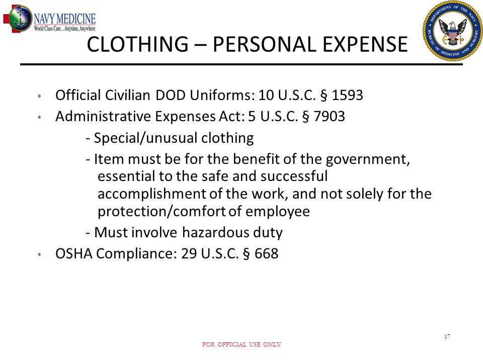 CLOTHING – PERSONAL EXPENSE