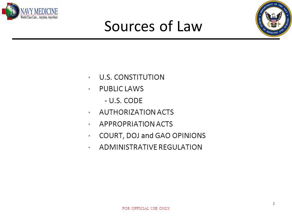 Sources of Law U.S. CONSTITUTION PUBLIC LAWS - U.S. CODE