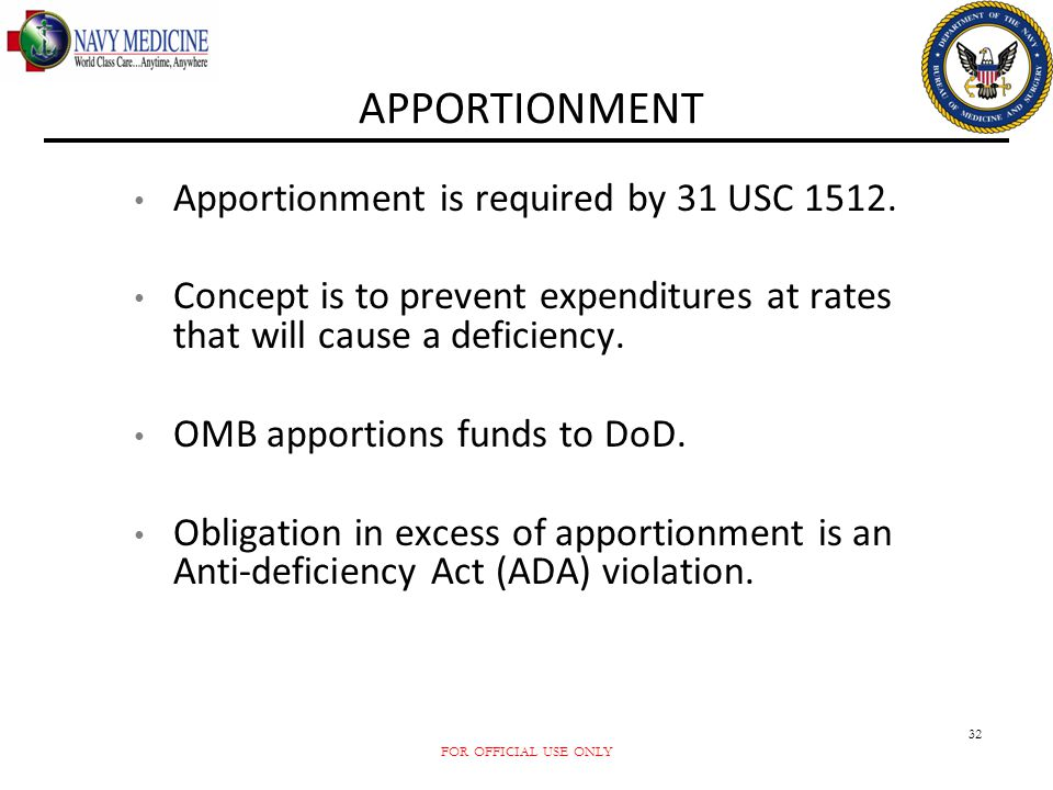 APPORTIONMENT Apportionment is required by 31 USC 1512.