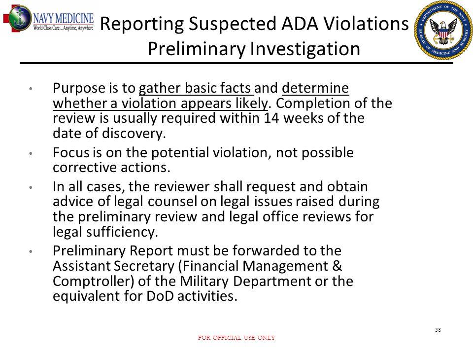 Reporting Suspected ADA Violations Preliminary Investigation
