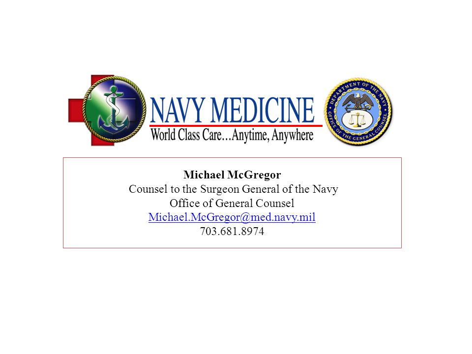 Counsel to the Surgeon General of the Navy Office of General Counsel