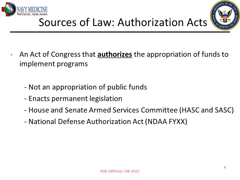 Sources of Law: Authorization Acts