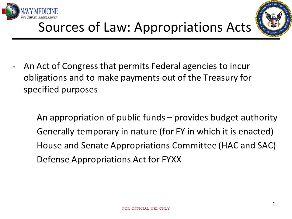Sources of Law: Appropriations Acts