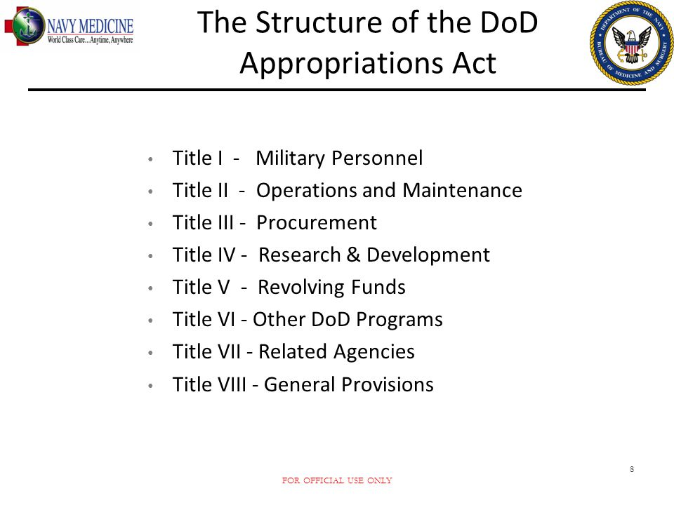 The Structure of the DoD Appropriations Act