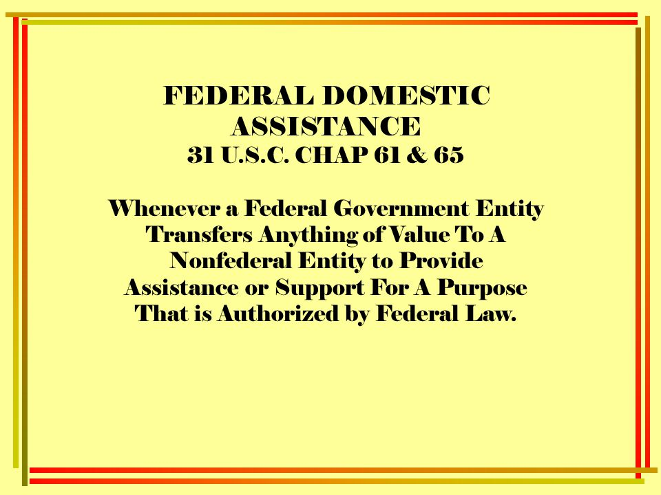 FEDERAL DOMESTIC ASSISTANCE