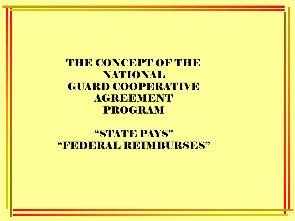 Purpose and legal authority for cooperative agreements ppt video the concept of the national guard cooperative agreement program platinumwayz