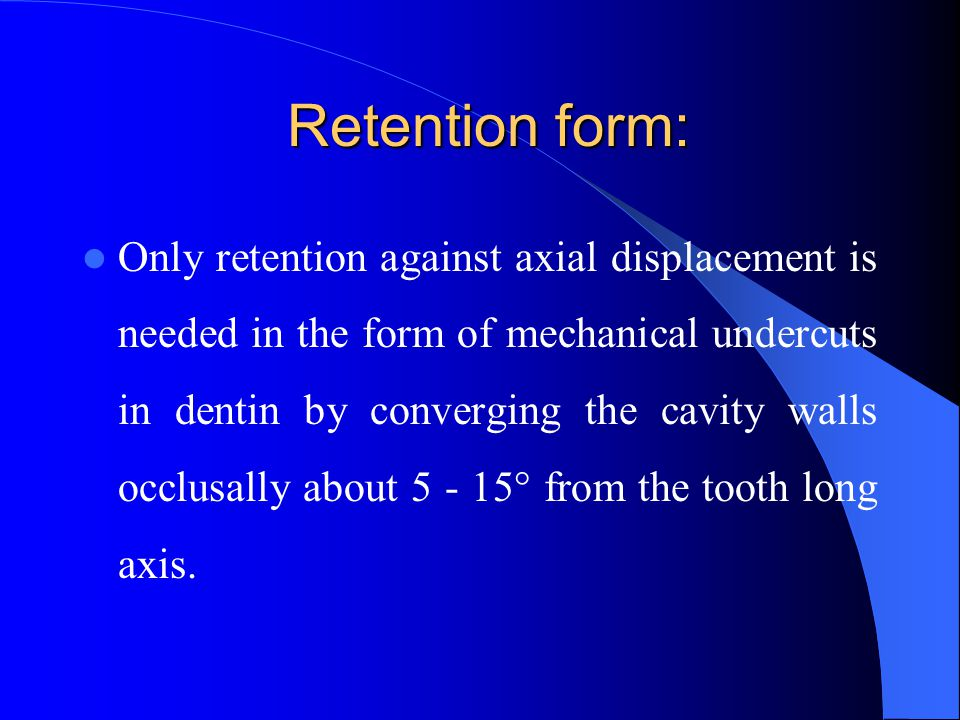 Retention form: