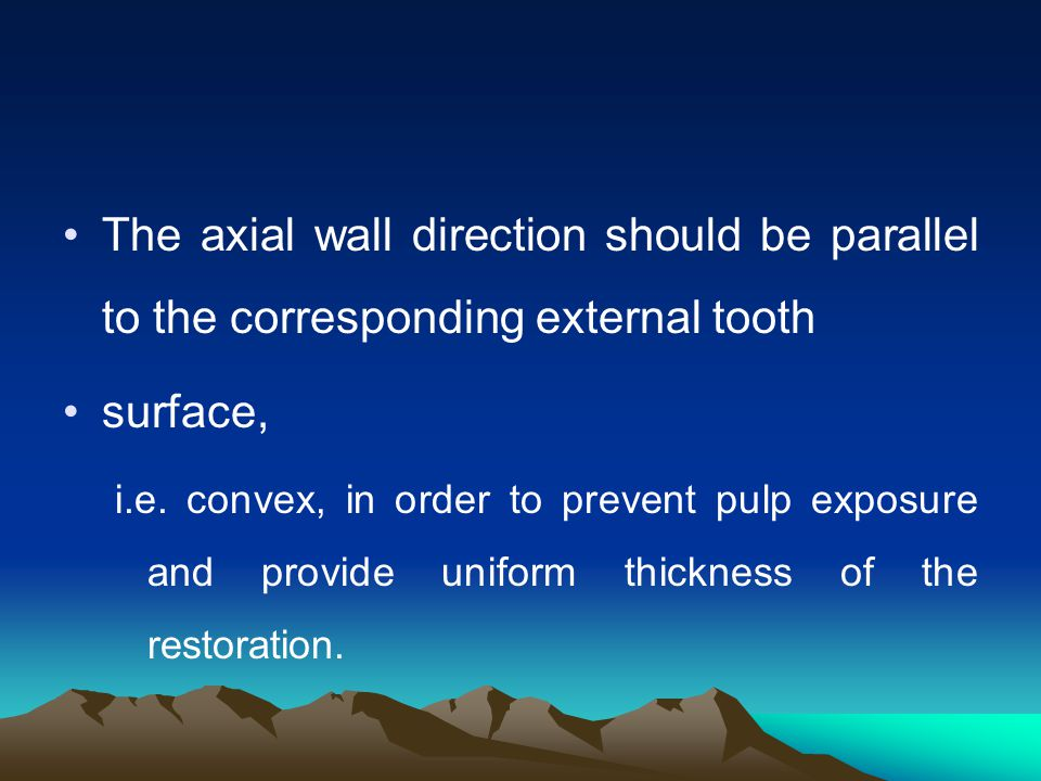 The axial wall direction should be parallel to the corresponding external tooth