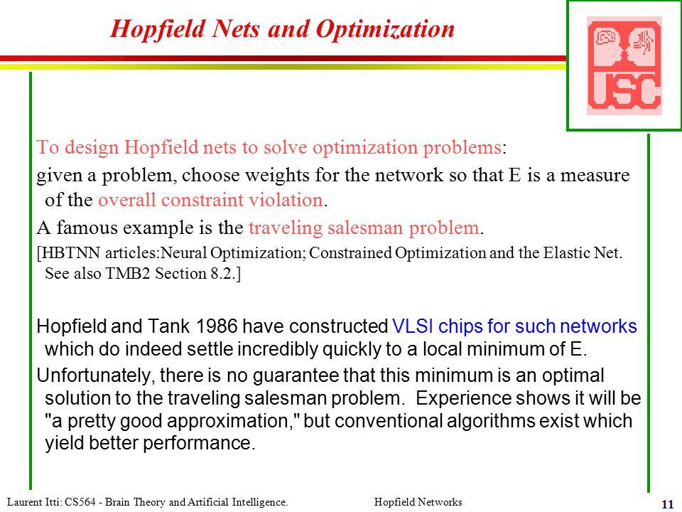Hopfield Nets and Optimization