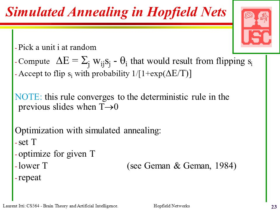 Simulated Annealing in Hopfield Nets