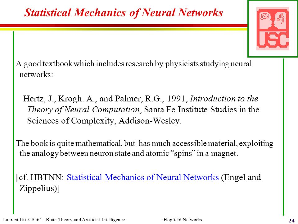 Statistical Mechanics of Neural Networks