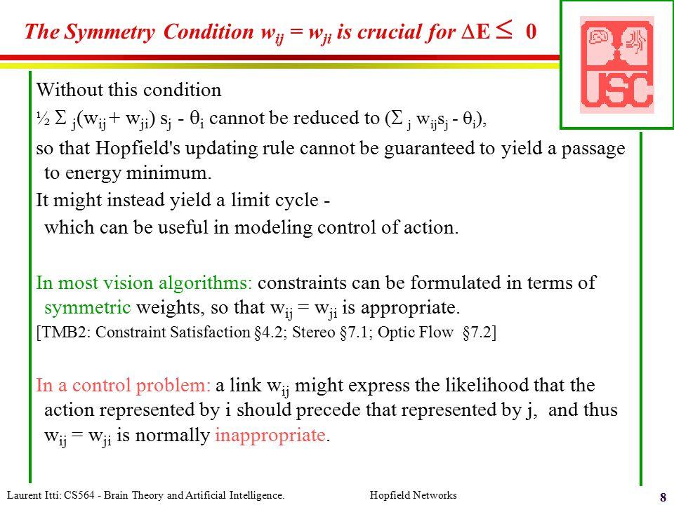 The Symmetry Condition wij = wji is crucial for DE  0
