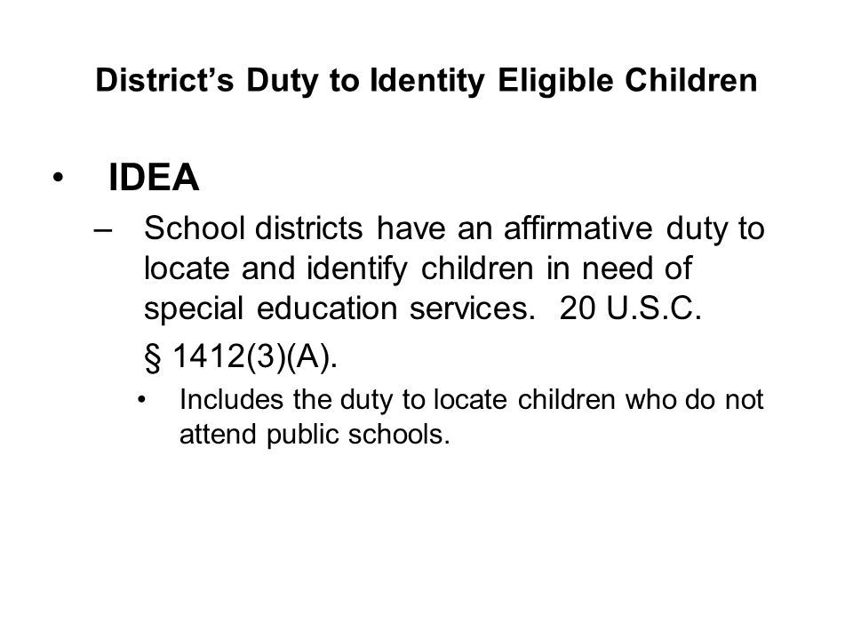 District's Duty to Identity Eligible Children