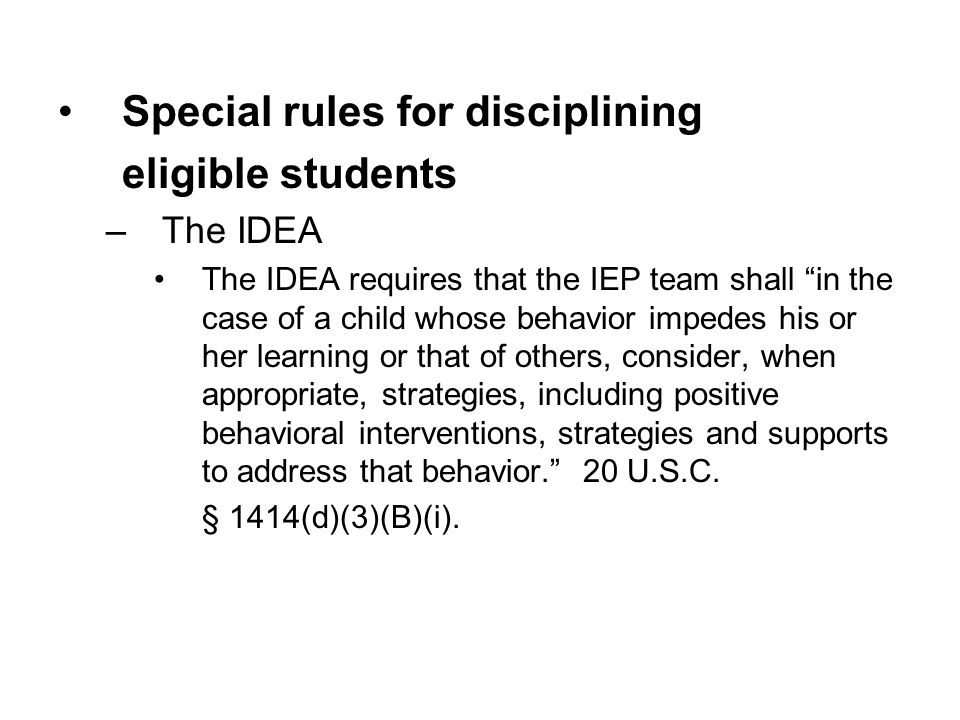 Special rules for disciplining eligible students