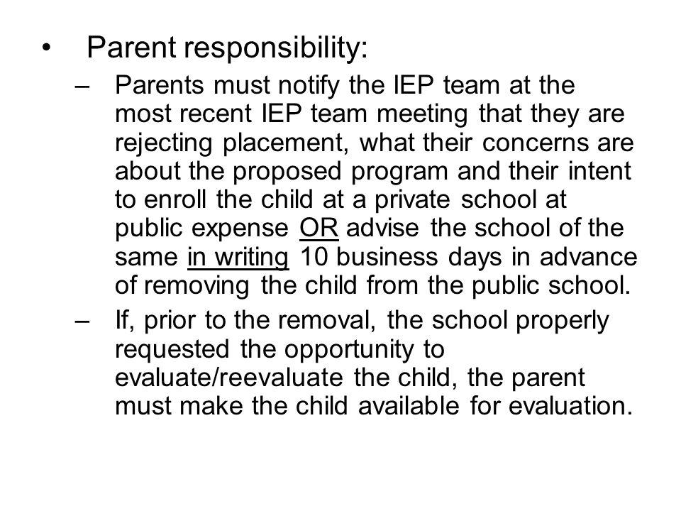 Parent responsibility: