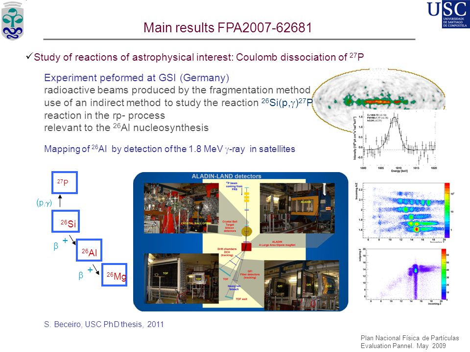 Main results FPA2007-62681 Study of reactions of astrophysical interest: Coulomb dissociation of 27P.