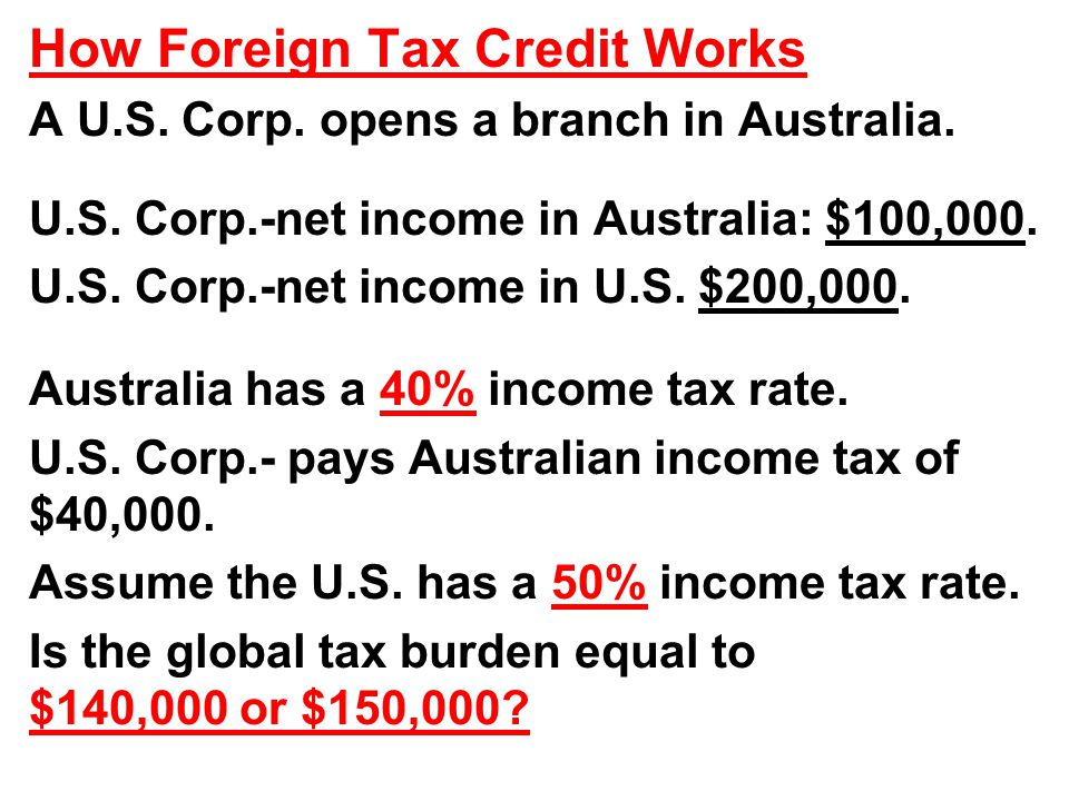 How Foreign Tax Credit Works