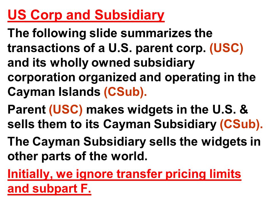 US Corp and Subsidiary