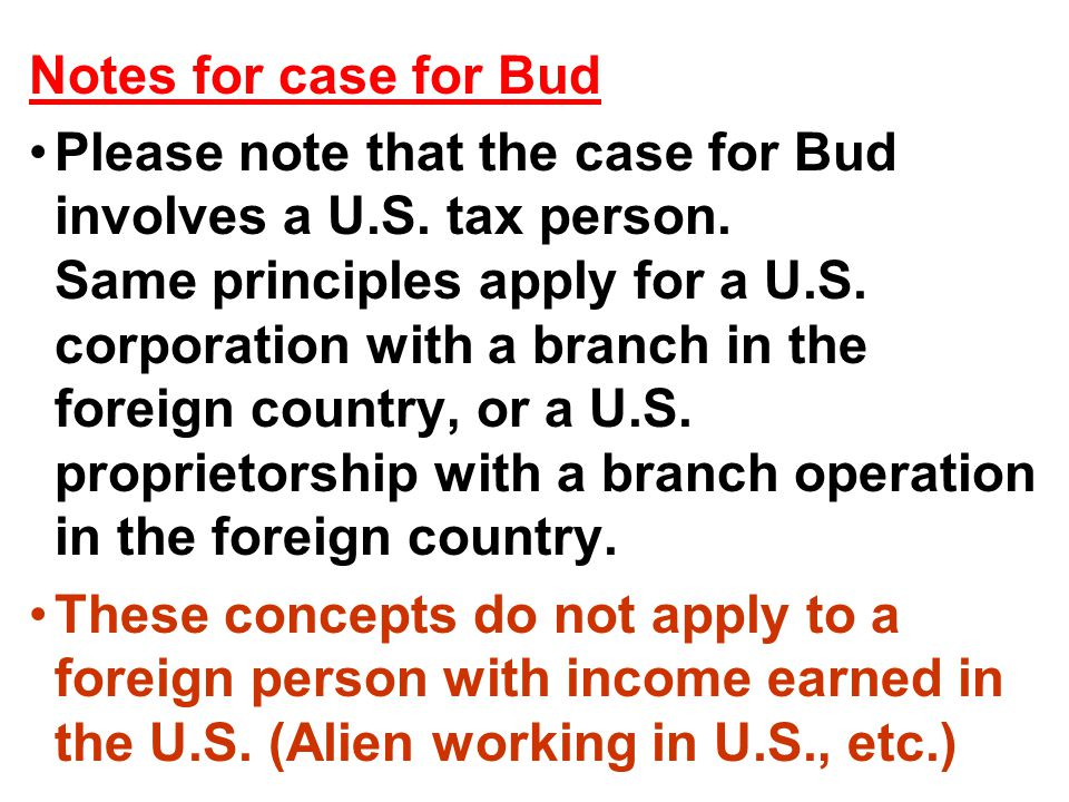 Notes for case for Bud