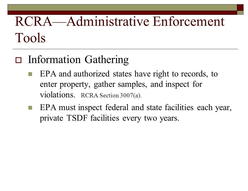 RCRA—Administrative Enforcement Tools