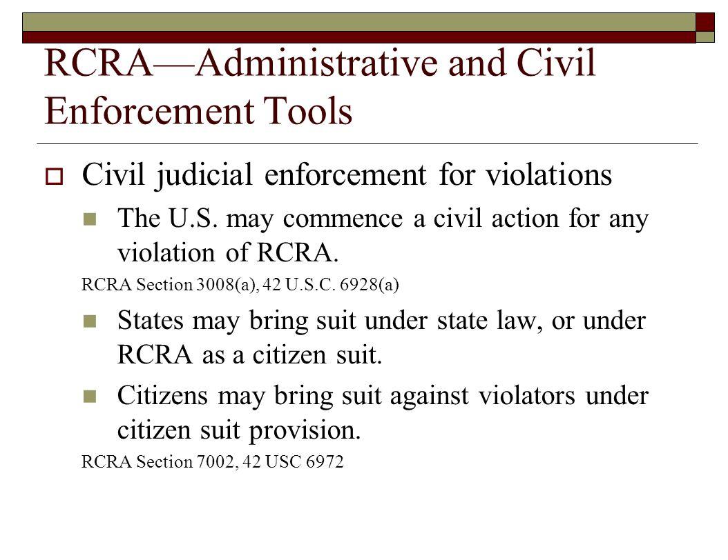 RCRA—Administrative and Civil Enforcement Tools