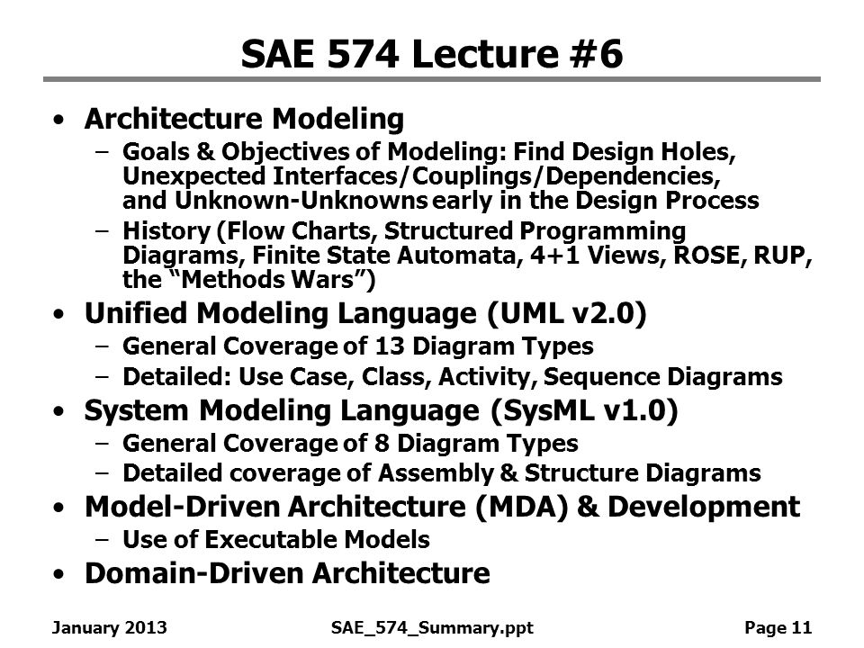 SAE 574 Lecture #6 Architecture Modeling