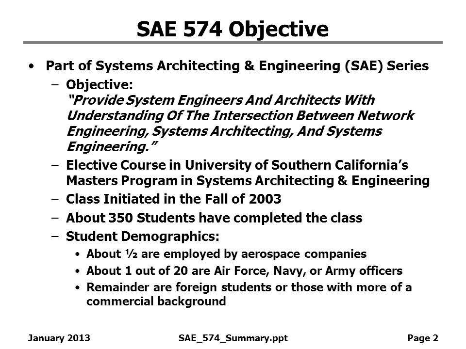 SAE 574 Objective Part of Systems Architecting & Engineering (SAE) Series.