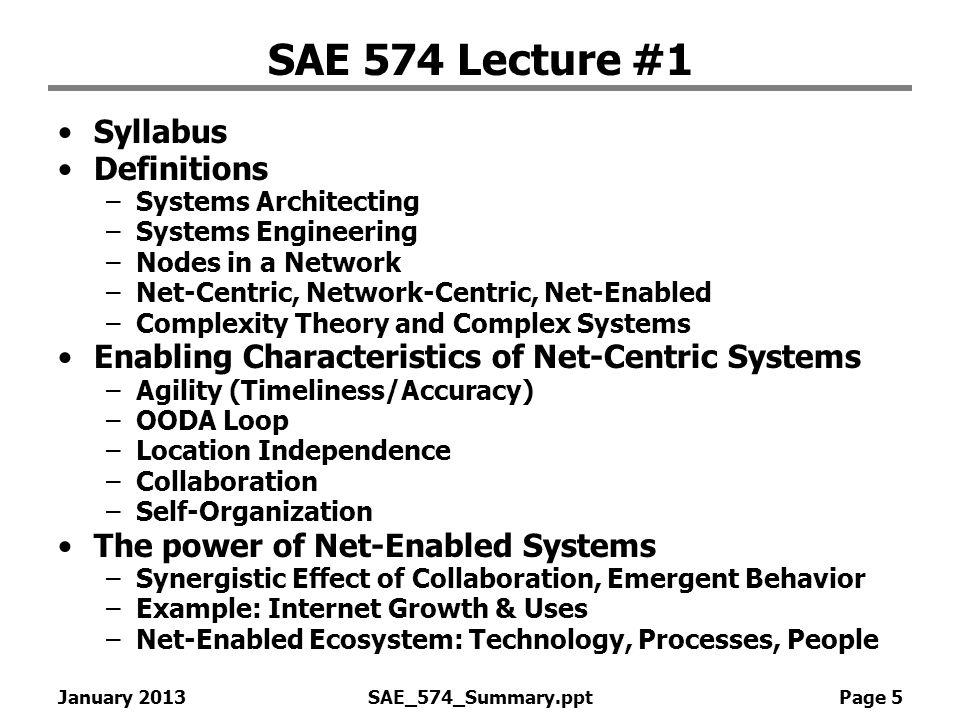 SAE 574 Lecture #1 Syllabus Definitions