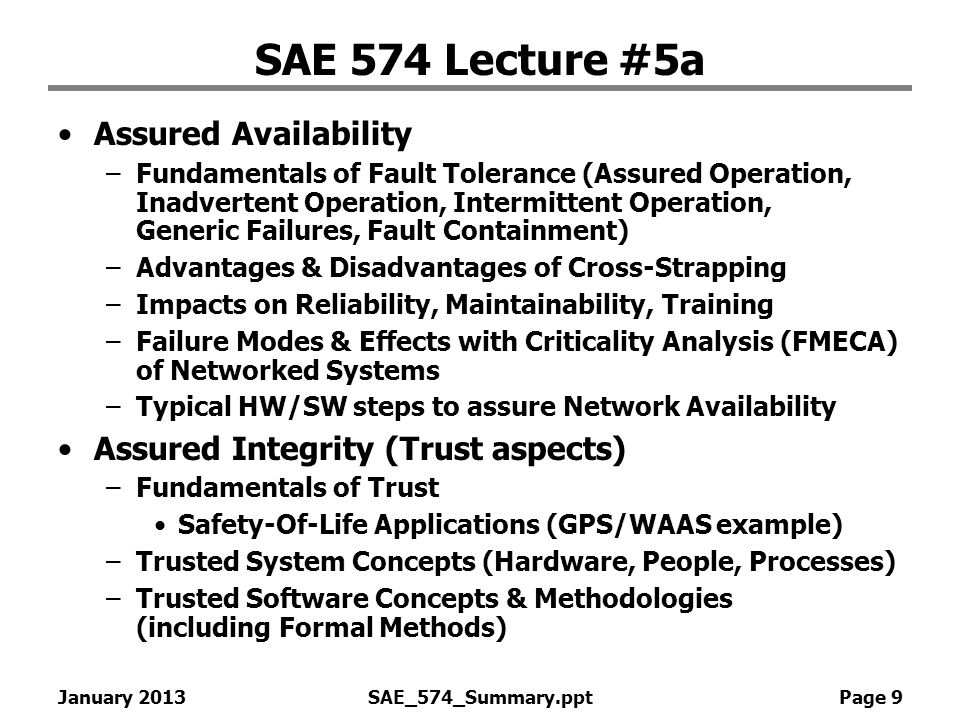 SAE 574 Lecture #5a Assured Availability