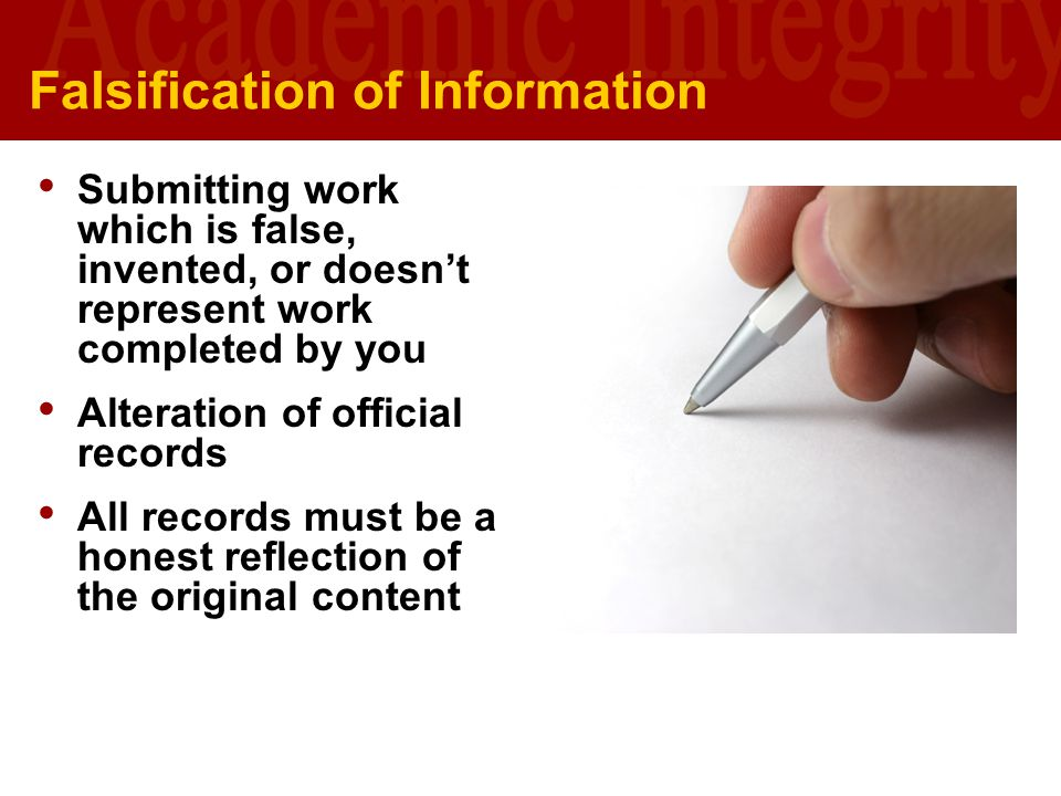 Falsification of Information