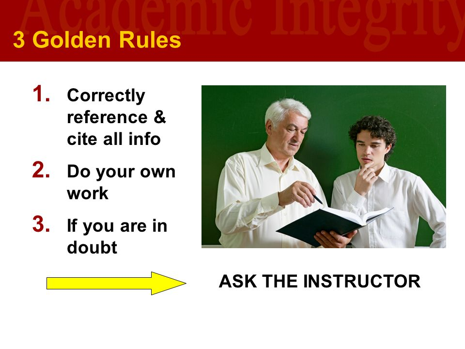 3 Golden Rules Correctly reference & cite all info Do your own work