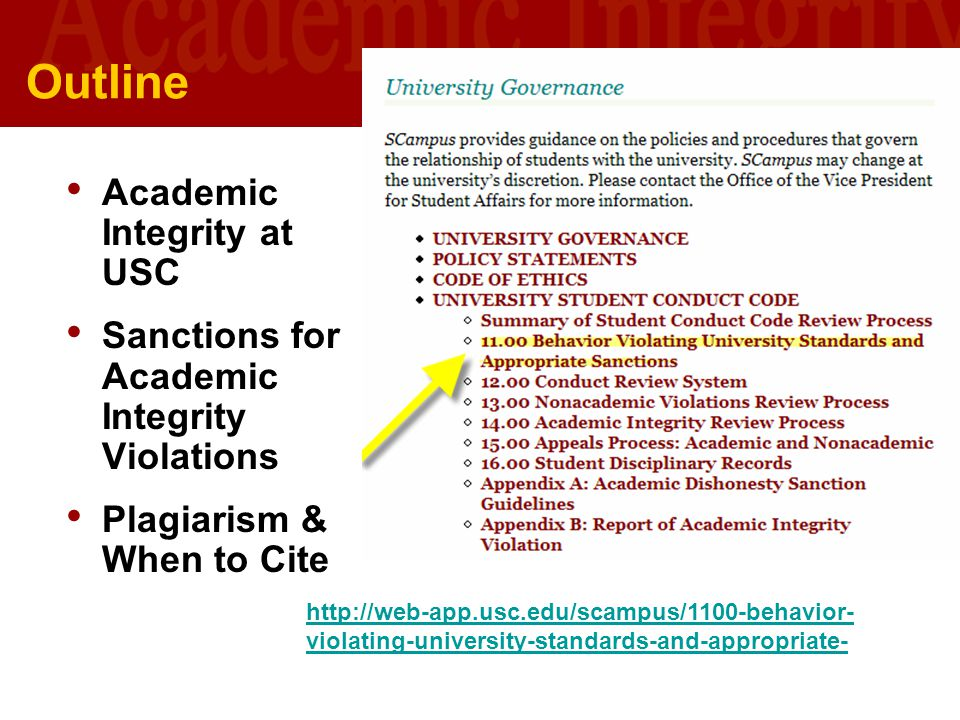 Outline Academic Integrity at USC