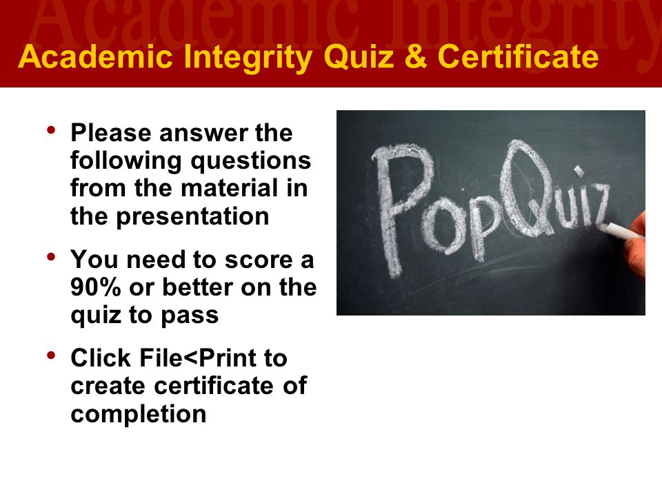 Academic Integrity Quiz & Certificate
