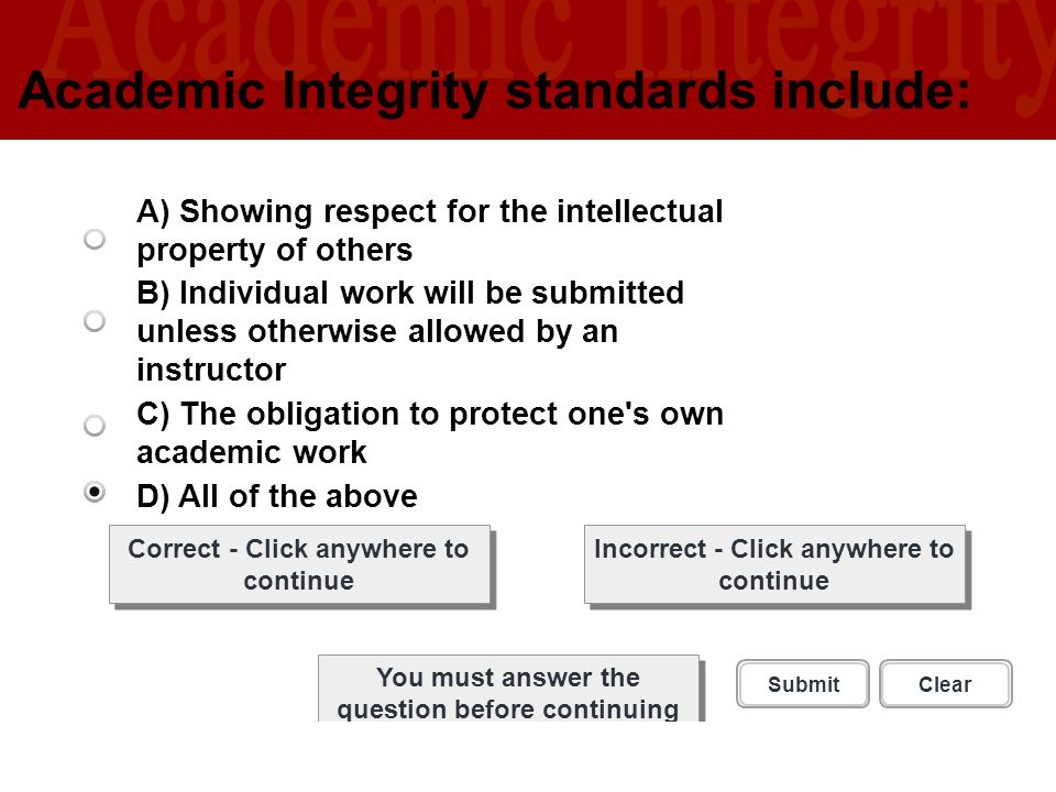 Academic Integrity standards include: