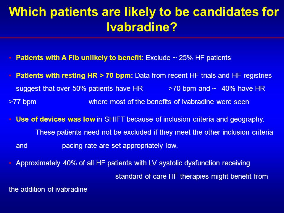 Which patients are likely to be candidates for Ivabradine