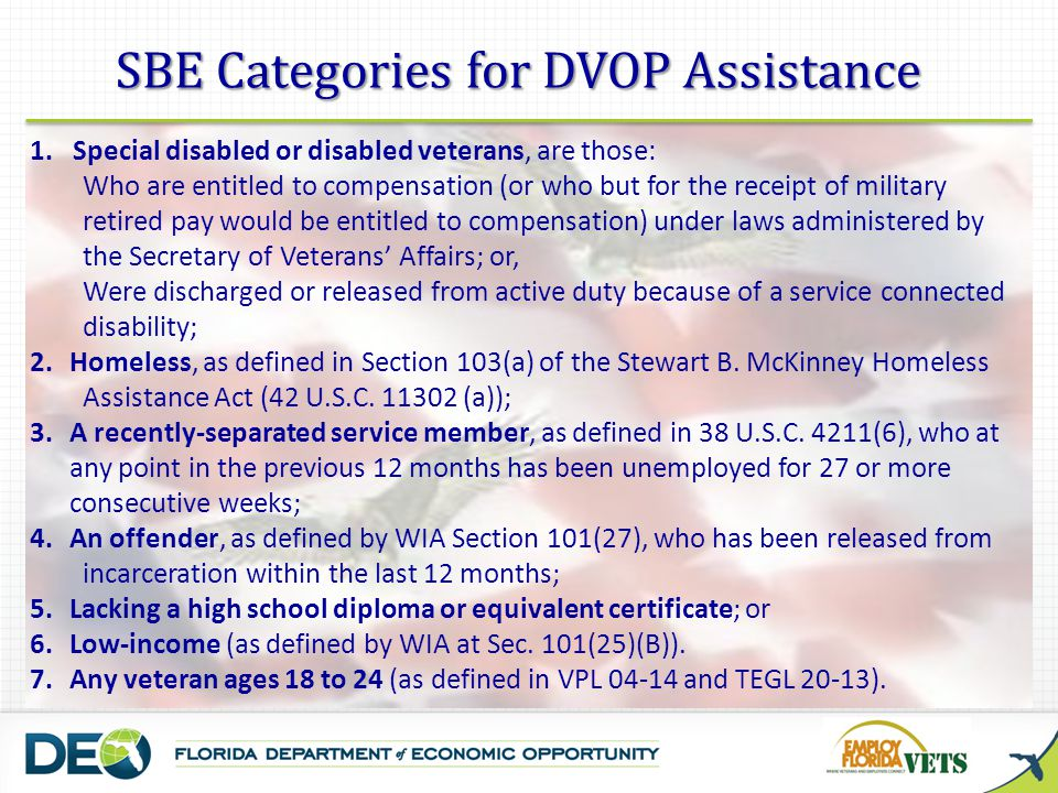 SBE Categories for DVOP Assistance